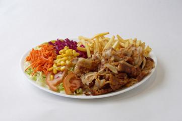 Assiette kebab et frites