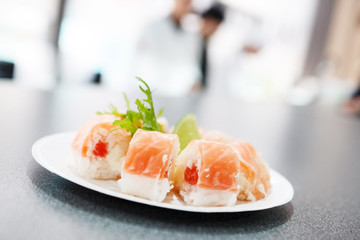 sushi in the restaurant