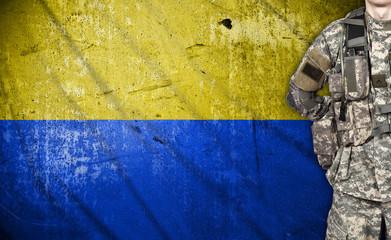 soldier with Ukraine flag
