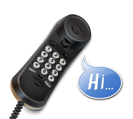 Telephone handset and speech bubble. Vector illustration
