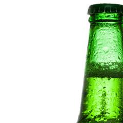 Green beer bottle - close up studio shot