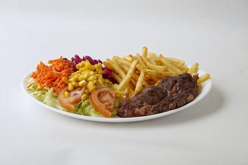 Entrecôte sur assiette avec frites - Steak frites