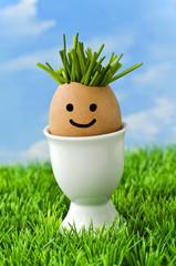 Ein Bio-Ei mit Gesicht