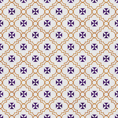 Purple and Gold Maltese Cross Symbol Tile Pattern Repeat Backgro