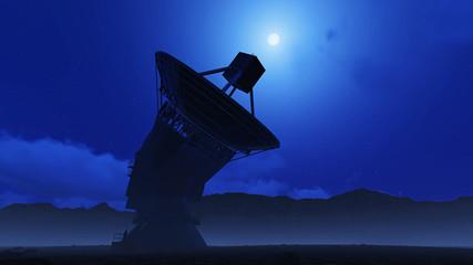 telescope on a moonlit night