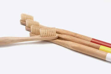 Toothbrushes on white background