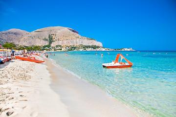 Mondello white sand beach in Palermo, Sicily.