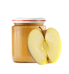 Jar of baby puree and fresh apple isolated on white
