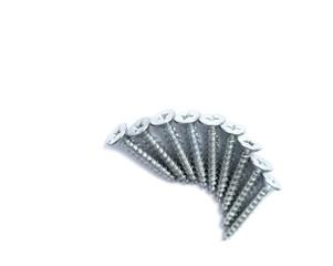 Silver screws on white background