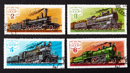 series of stamps printed in USSR, shows trains