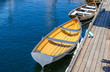 Rowboat Moored to a Wooden Jetty - 81063822