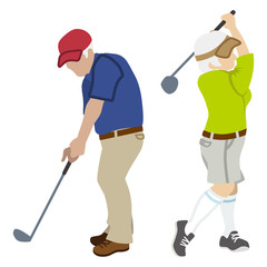 Active Senior Couple ,Playing Golf Isolated