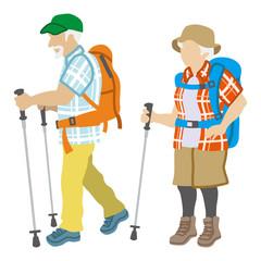 Active Senior Couple ,Climbing Fashion Isolated