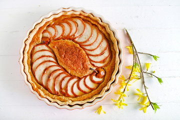 Pear pie with almond flour, summer dessert classic pastry