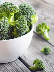 Broccoli in a bowl on wooden background