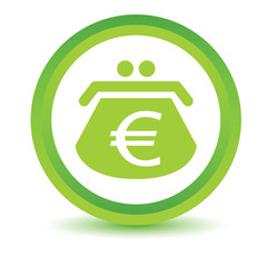 Green euro purse icon