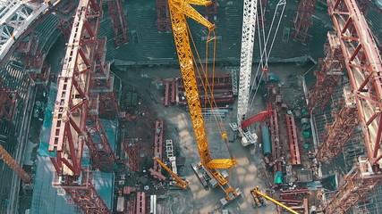 Aerial Shoot Football Stadium Under Construction, top view