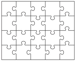 Vector illustration of white puzzle