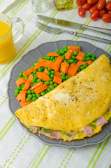 Ham and cheese omelette , healthy vegetable