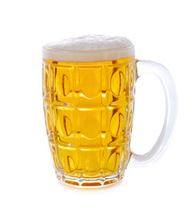 Mug with beer on white background