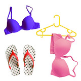 Summer Concept with Bikini and Flip Flop Sandals