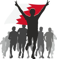 Athlete with the Bahrain flag at the finish