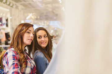 Two Young Women Shopping in a Store