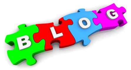 Блог (Blog). Надпись на разноцветных пазлах
