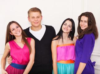 Four happy teen friends