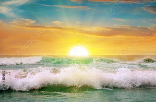 Fantastic sunrise on the ocean - 81068434