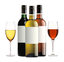 bottles of red, pink and white wine and wineglasses isolated on