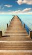 Leinwanddruck Bild - Steg am Meer