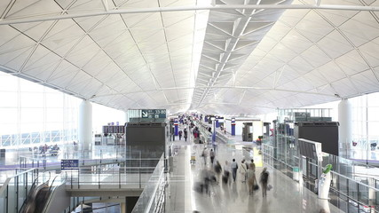 Timelapse video of commuters in an airport
