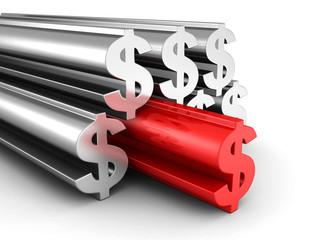 Big Dollar Currency Symbols With Red Forward Leader