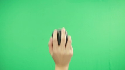 Woman hand click  mouse on green screen background