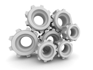 Metal Gears And Cogwheels On White Background