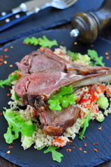 Roast Lamb with couscous and mint