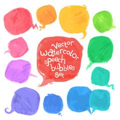 Vector Watercolor Speech Bubbles Set