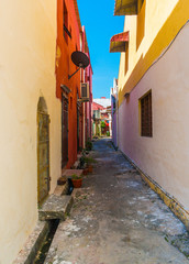 Colorful small alley in a sunny day
