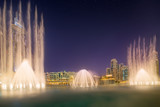 The dancing fountain Burj Khalifa in Dubai, UAE