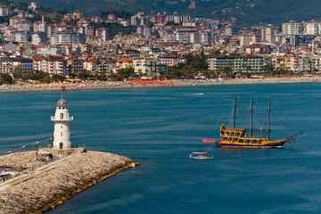 Walk on a beautiful yacht in Mediterranean sea, Alanya.