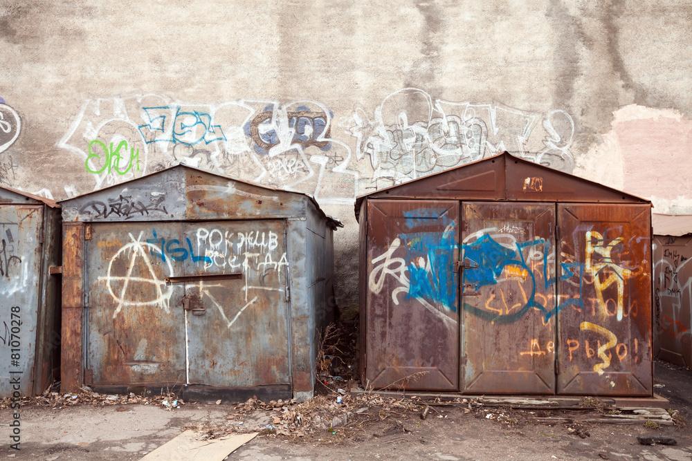 stary rusted opuszczony - powiększenie