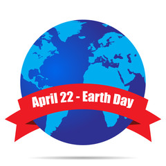 Earth Globe, Earth Day April 22 vector illustration