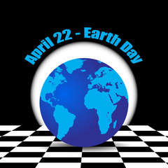 Earth on the chess background April 22 Earth Day vector