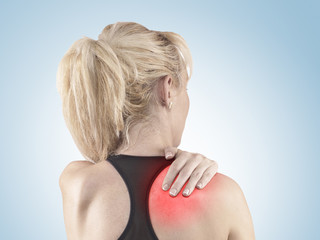 Woman with pain and injury on neck area.
