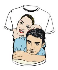 Camiseta con Ilustración de pareja enamorados