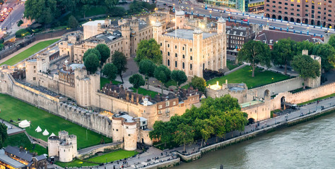 The Tower of London at dusk, aerial view