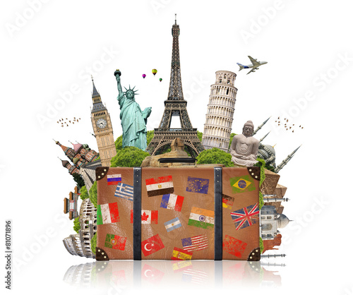 illustration of a suitcase full of famous monument - 81071896