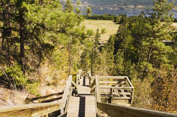 Steep mountain staircase