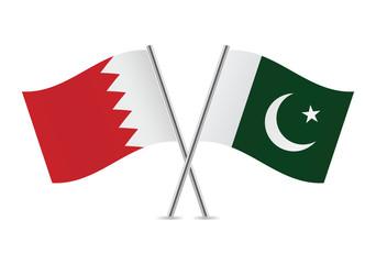 Pakistan and Bahrain flags. Vector illustration.